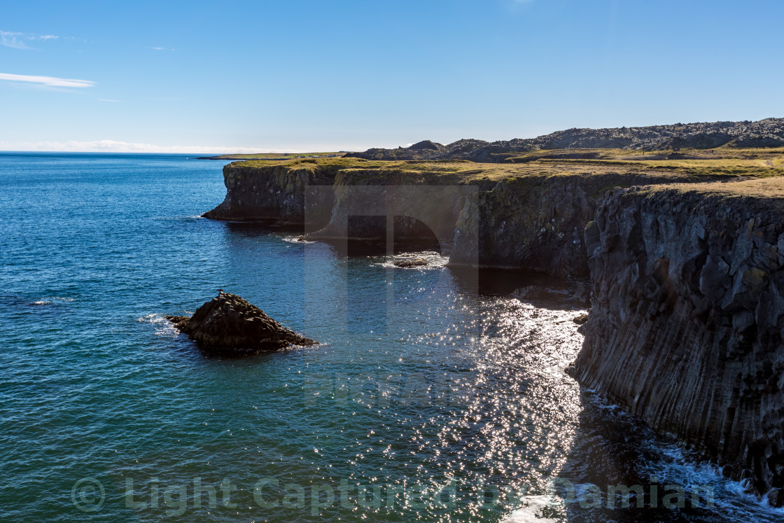 """Beautiful coast in Iceland with a black sea bird is spreading its wings on a small rock in the water"" stock image"
