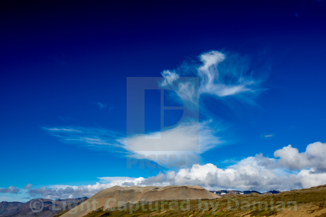 """""""Interesting white clouds in the sky of West Iceland"""" stock image"""