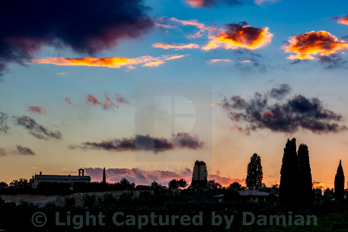 """Church silhouette and His eyes in the sky"" stock image"