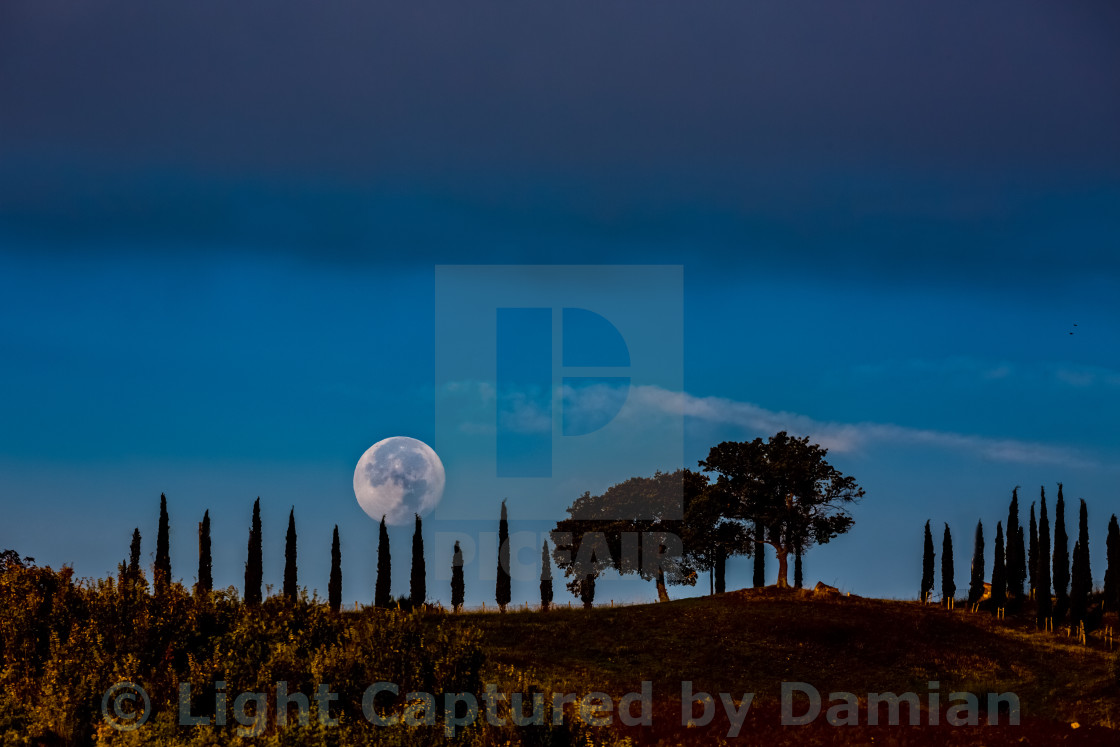 """Even the Moon is more magical in Tuscany, Italy."" stock image"