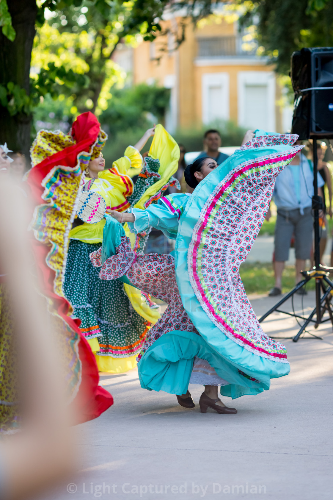 """""""Beautiful female dancer in traditional Mexican costume"""" stock image"""