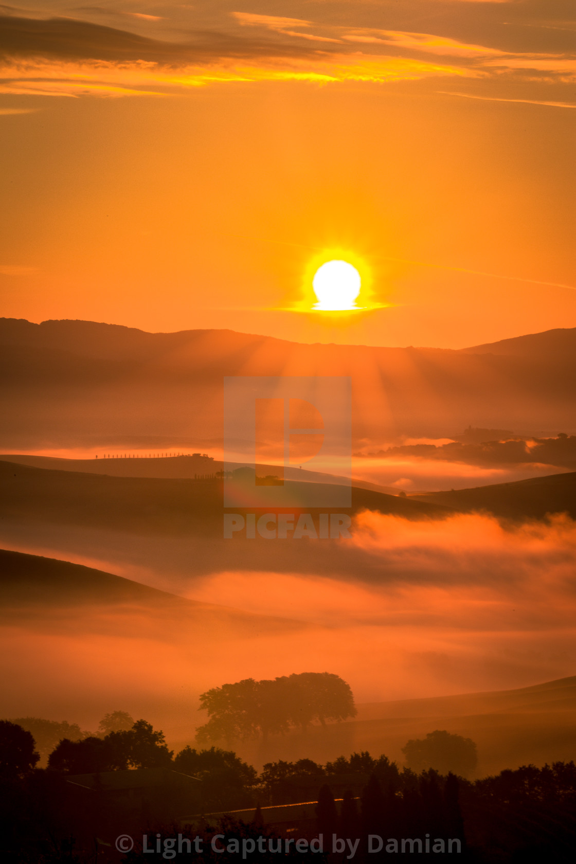 """""""Golden sunrise over the misty fields in Tuscany, Italy"""" stock image"""