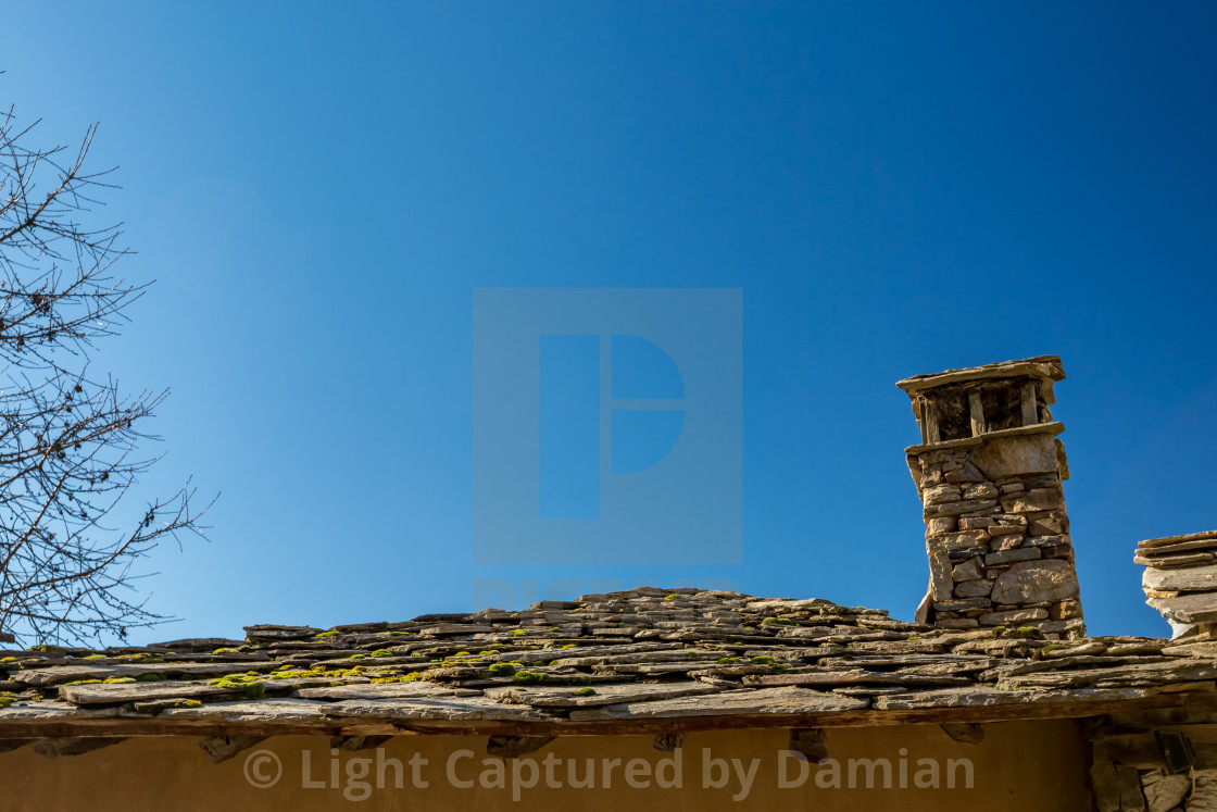 """""""Stone roof and chimney"""" stock image"""