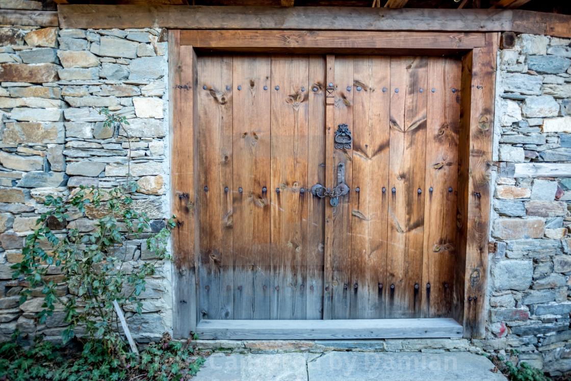"""""""Ancient wooden door in old town, Bulgaria"""" stock image"""