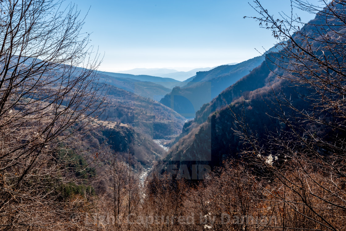 """Misty winter mountain landscape, Bulgaria"" stock image"