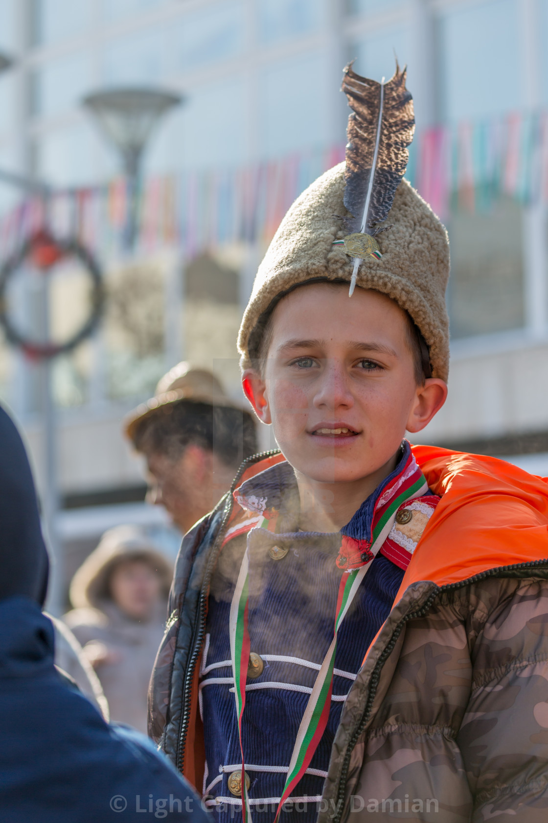 """""""Young boy with a big Bulgarian fur traditional hat"""" stock image"""