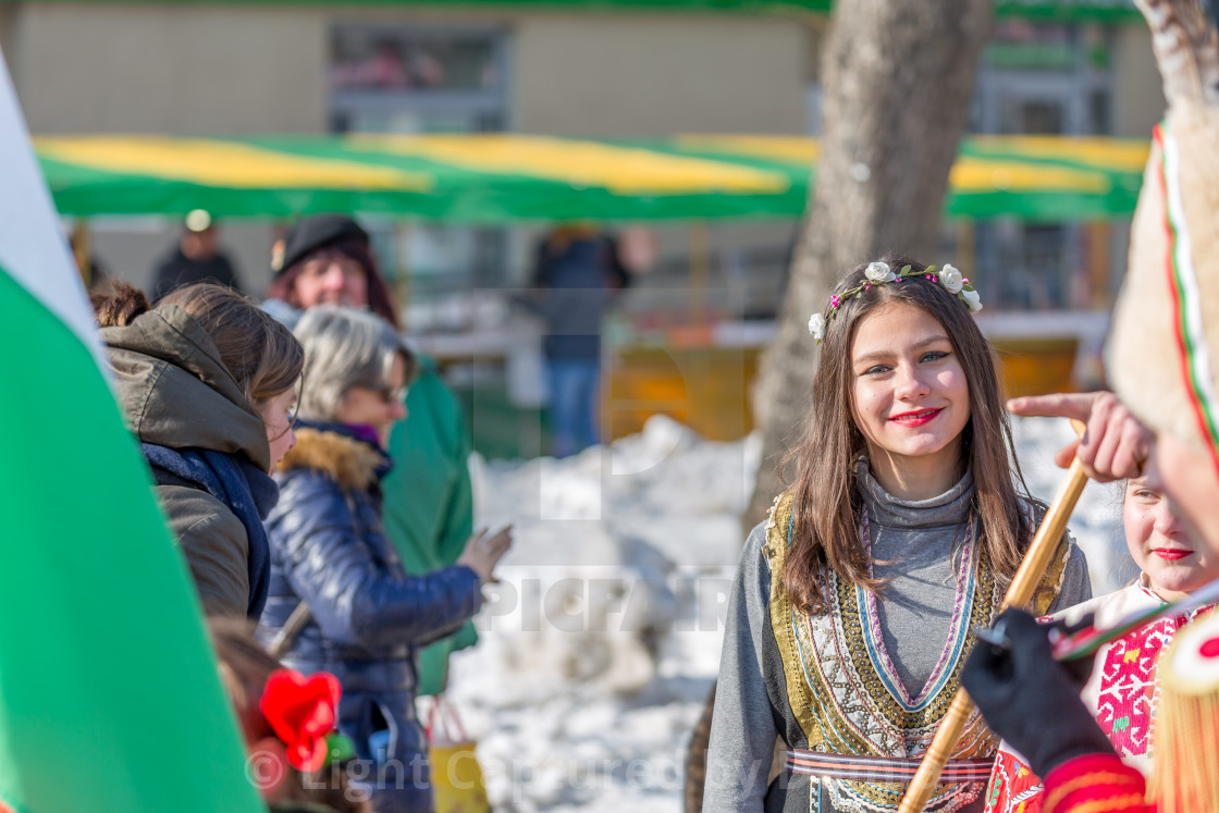 """""""Young lady smiling for you at the carnival"""" stock image"""