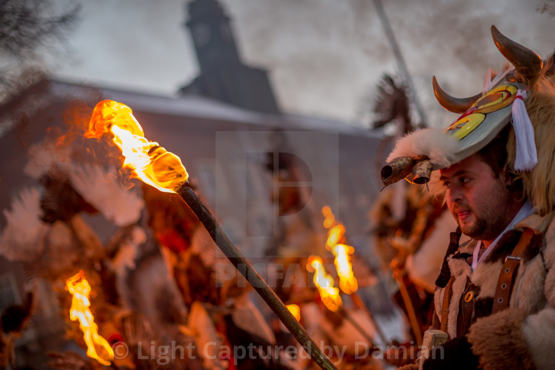 """Looking at the ritual fire"" stock image"