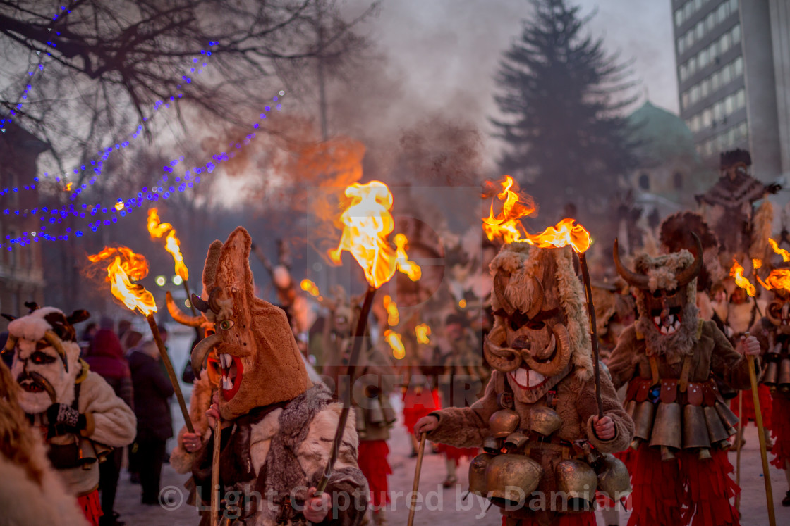 """Marching with ritual fire"" stock image"