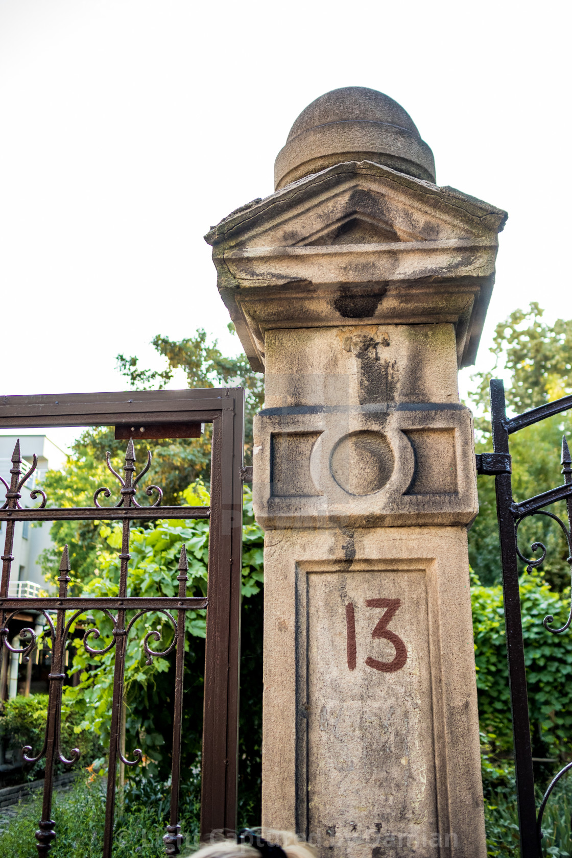 """""""Unlucky number 13 on road door column in Sofia"""" stock image"""