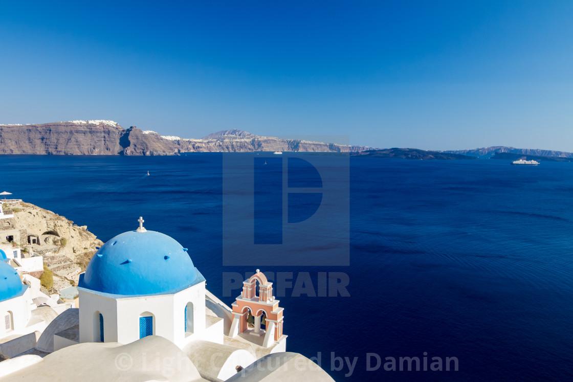 """Romantic view of wonderful Santorini, Greece"" stock image"