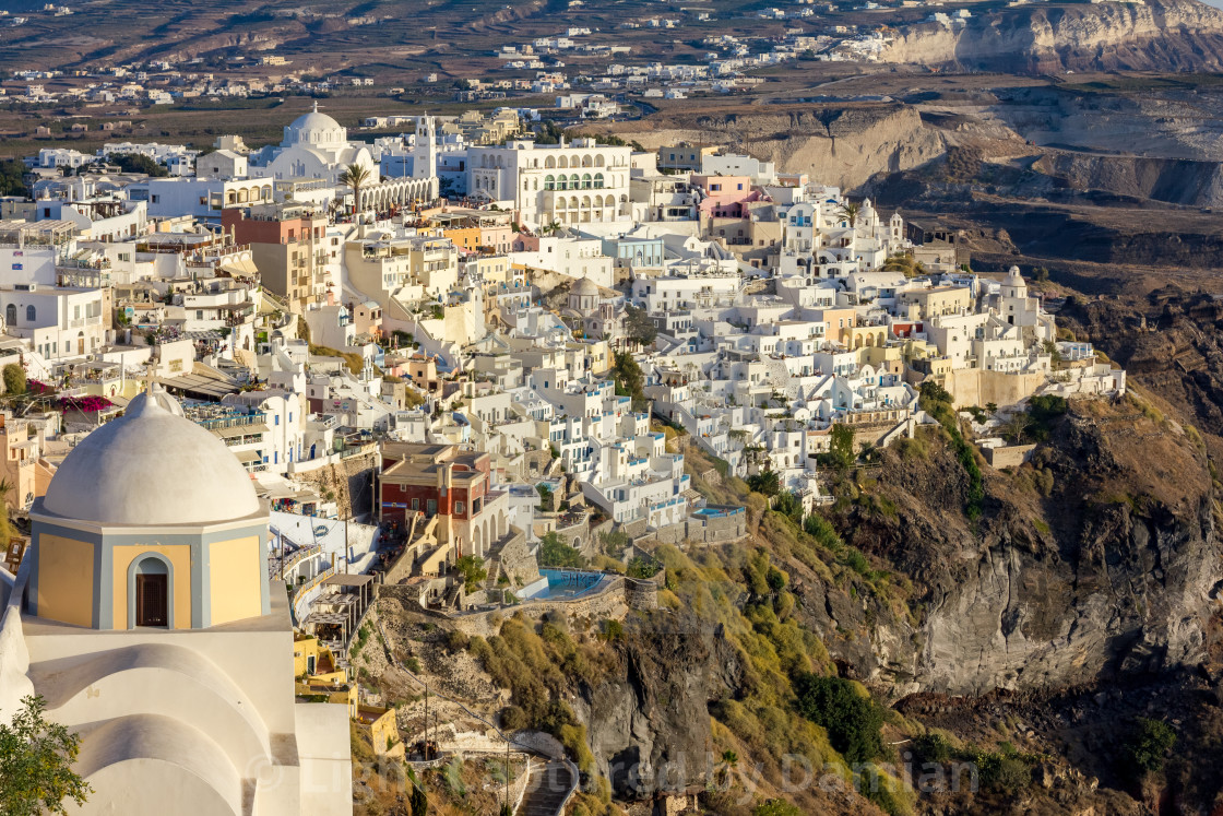 """Romantic town view of Fira, Santorini, Greece"" stock image"