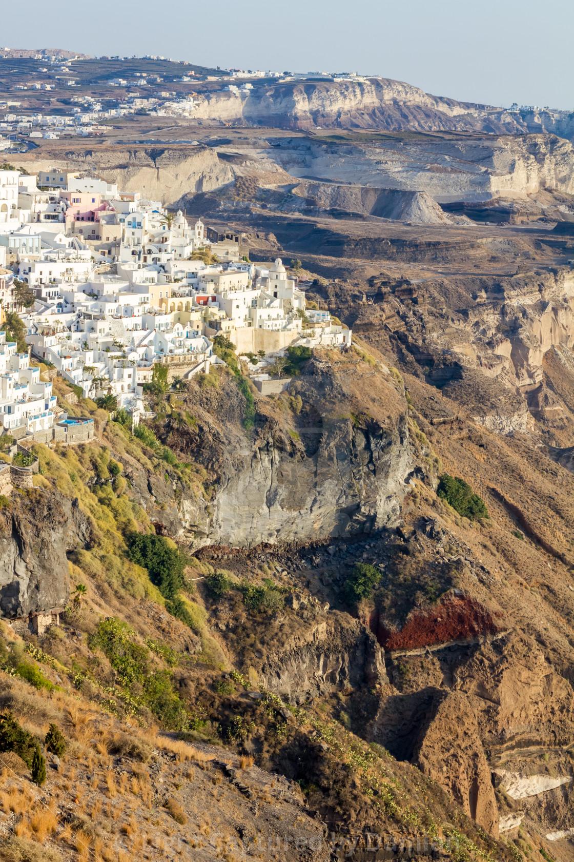 """Partial town view of Fira, Santorini, Greece"" stock image"