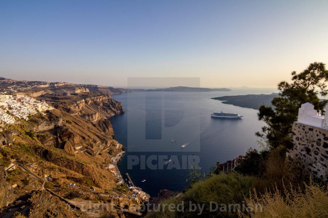 """Romantic view from Fira, Santorini, Greece"" stock image"