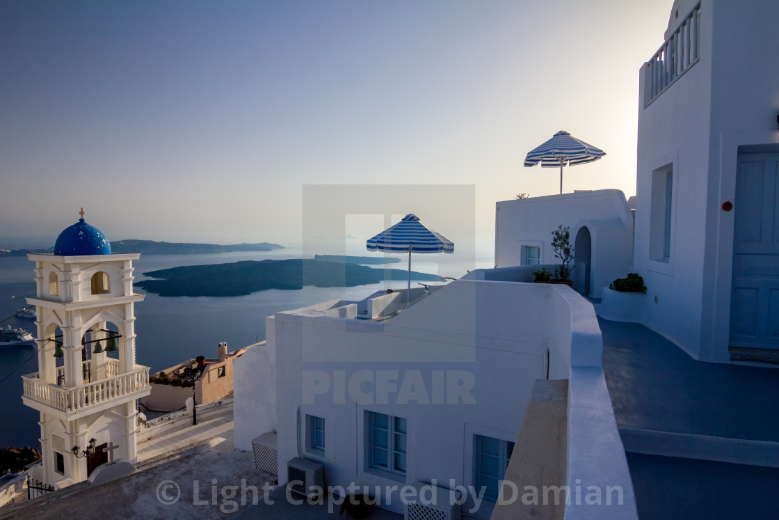 """Romantic sunset scene from Fira, Santorini, Greece"" stock image"