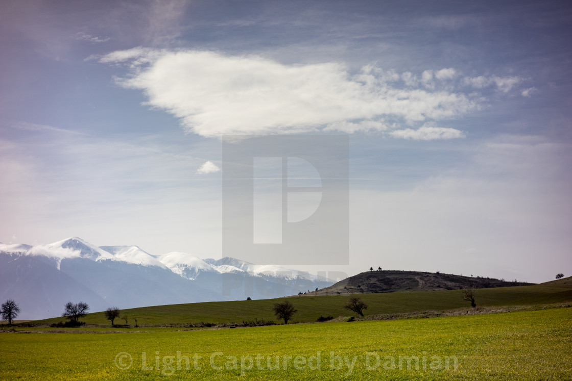 """Landscape view, the entrance of Razlog, Bulgaria"" stock image"