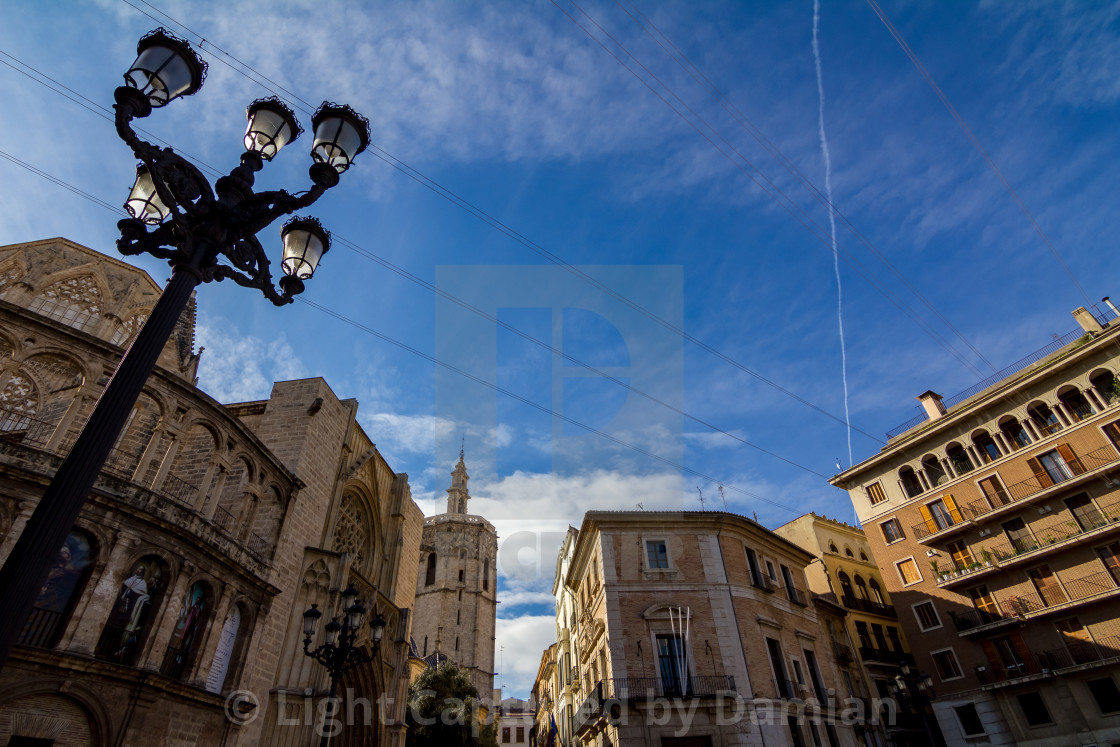 """Electric wires and old historical building mixture"" stock image"