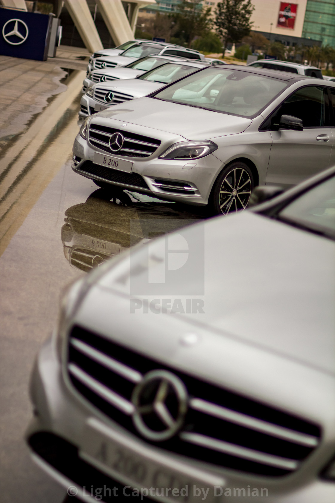 """""""Long line of brand new gray Mercedes-Benz cars"""" stock image"""