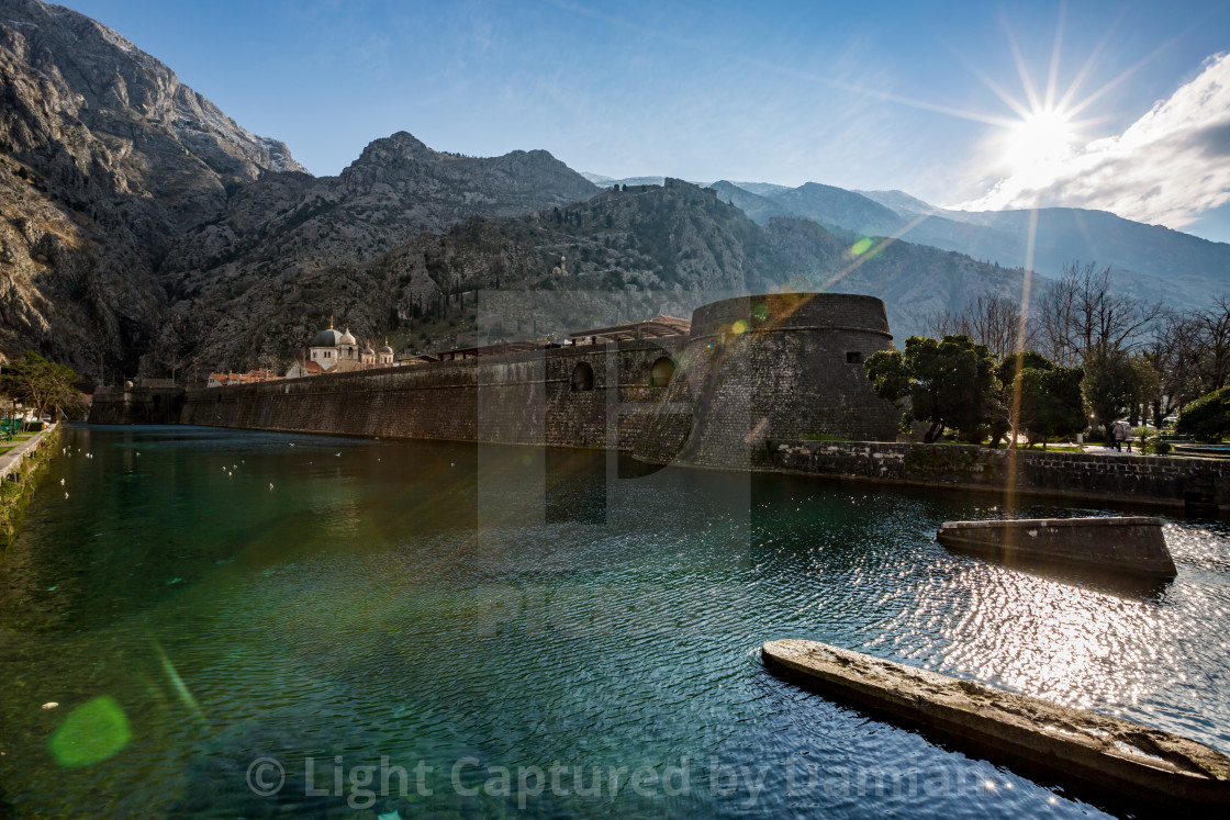 """Old Kotor town,North defensive walls, Scurda river"" stock image"
