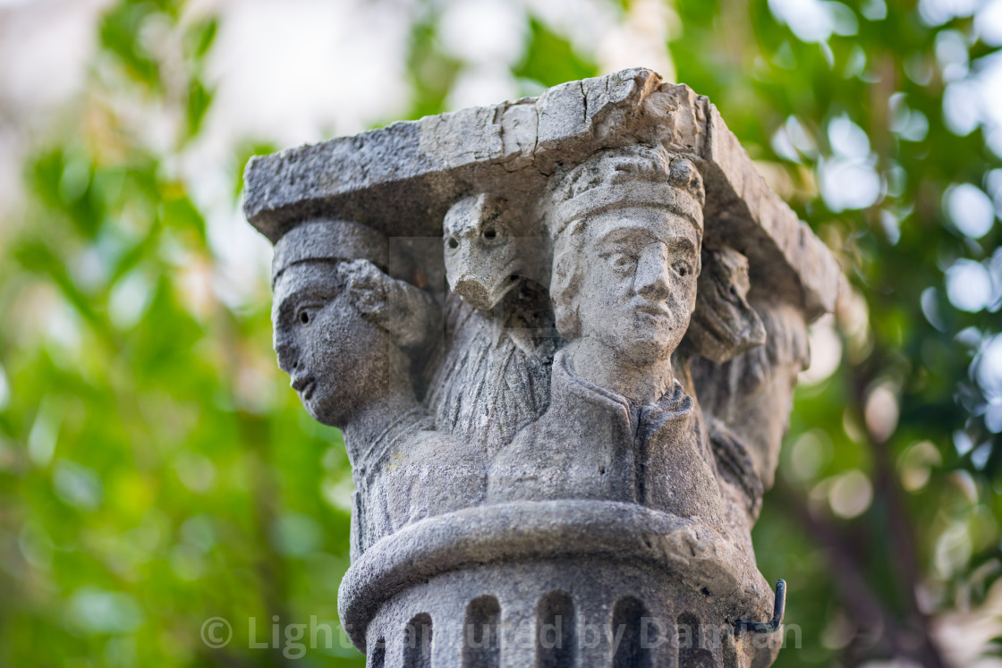 """Beautiful ancient column capital in Dubrovnik"" stock image"