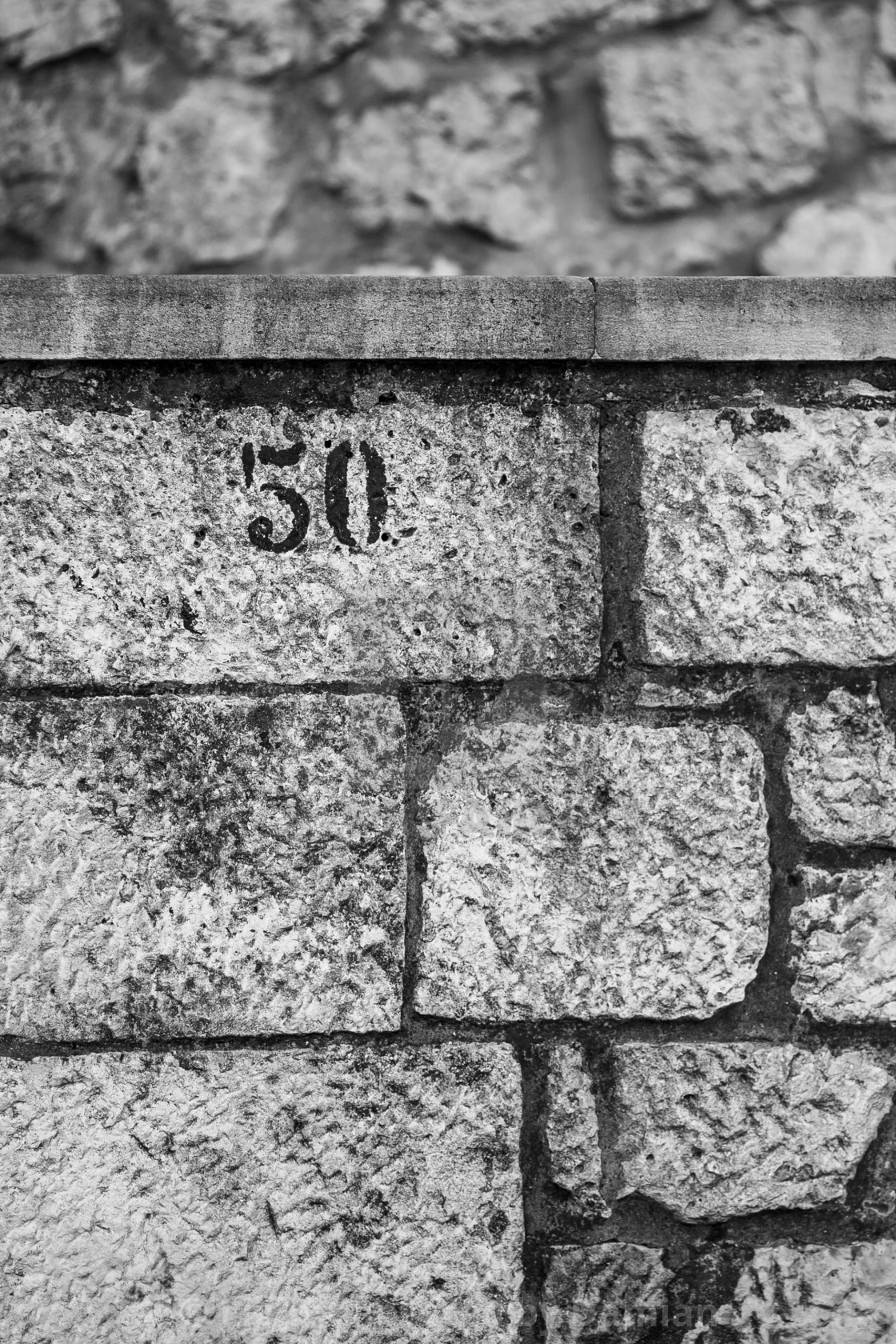 """Number 50, black and white, stone wall, upper left"" stock image"