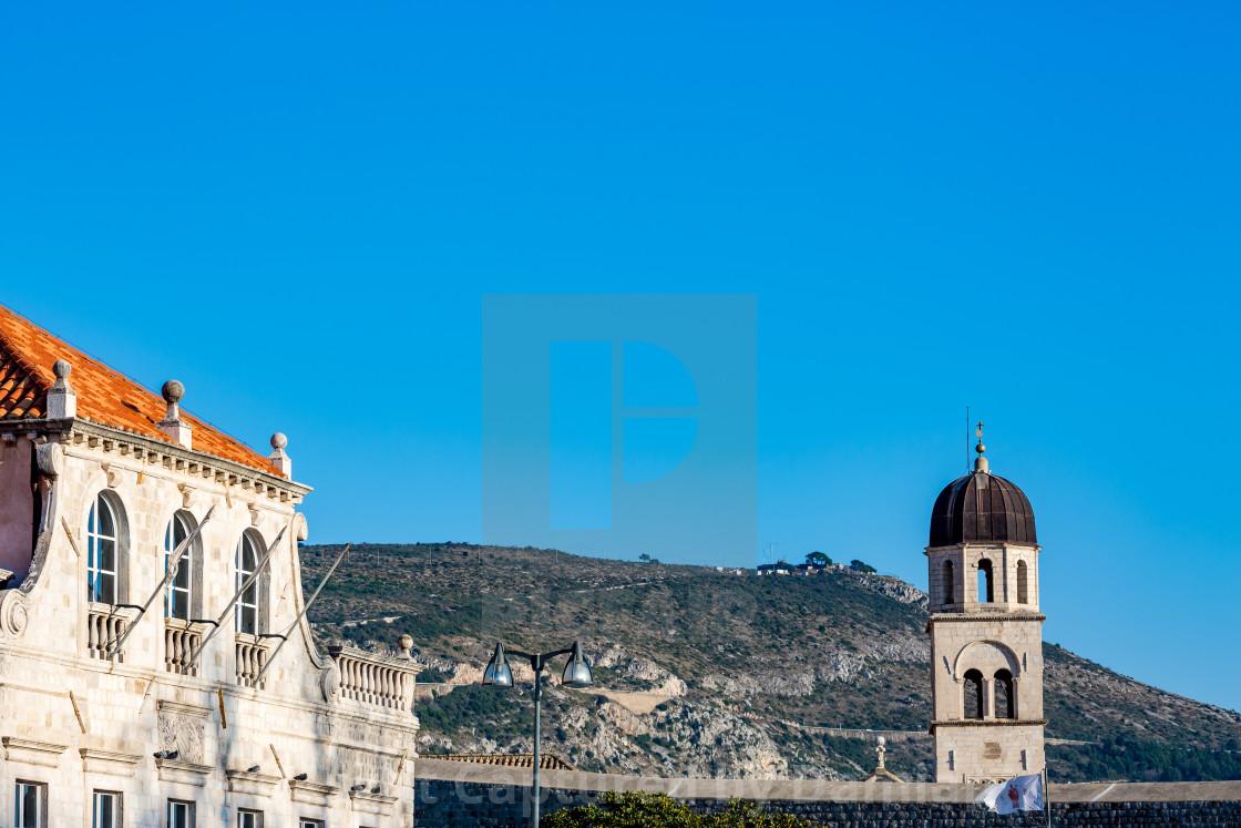 """Church bell tower winter view in Dubrovnik,Croatia"" stock image"