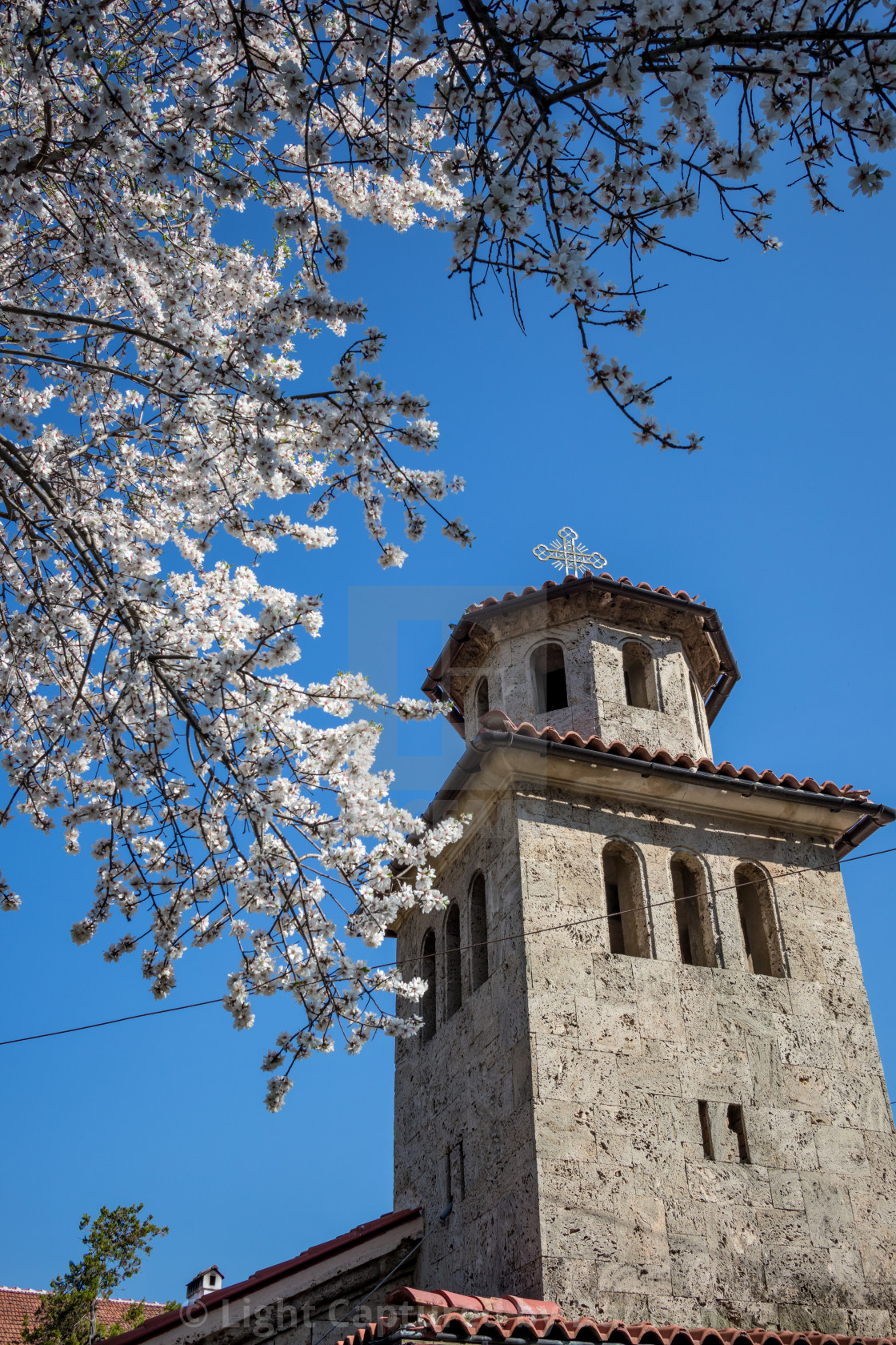 """Church cross tower of Batkun monastery"" stock image"
