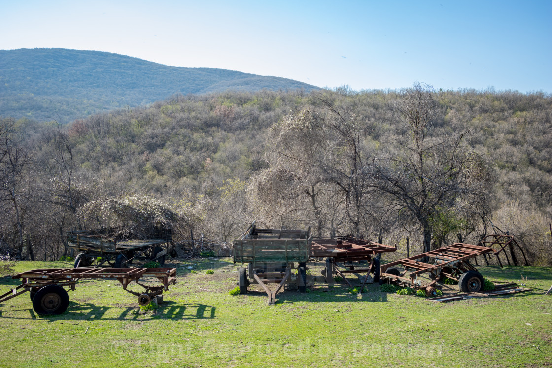 """Five old rusty farm trailers sitting in field"" stock image"
