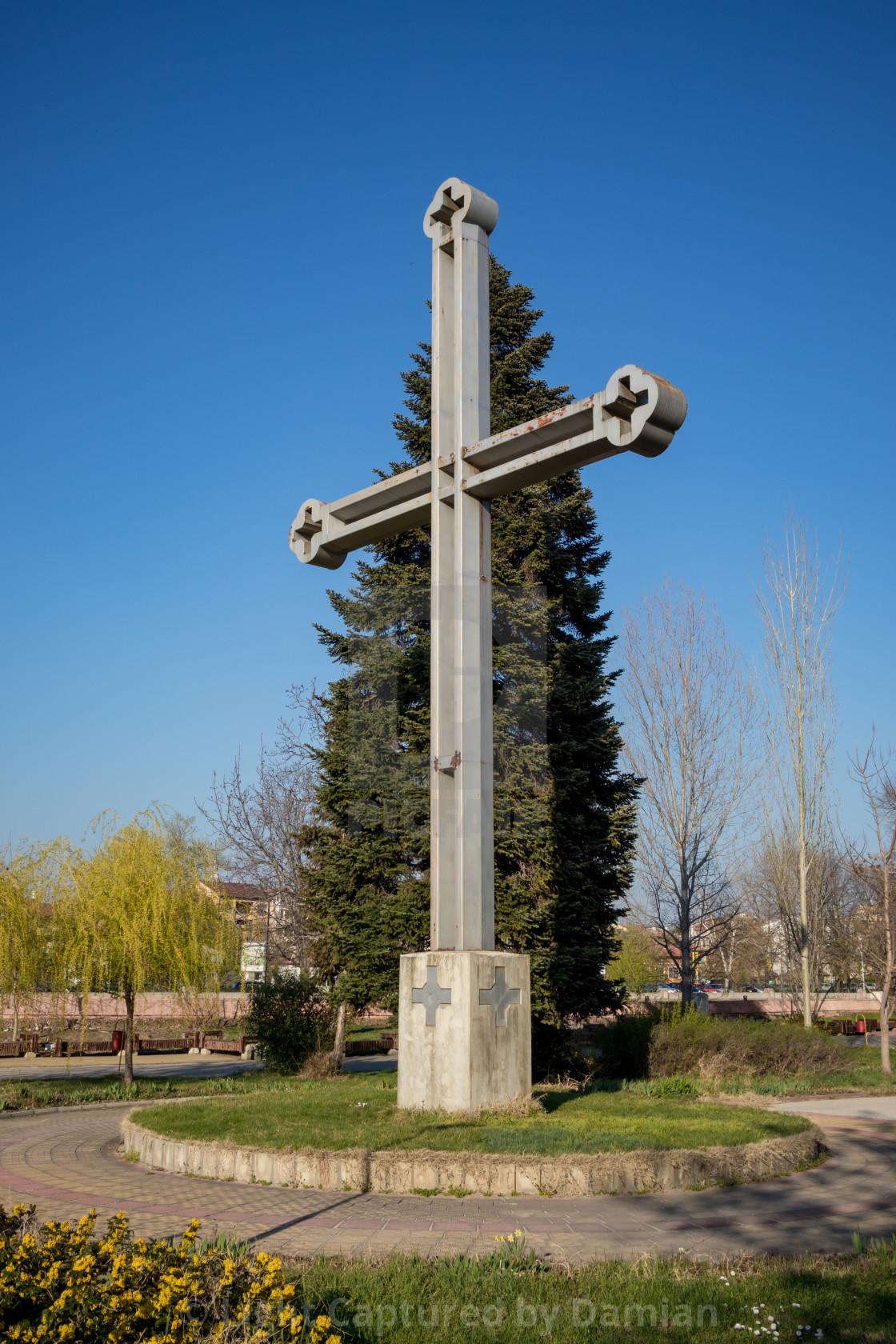 """Cross in island public park Freedom in Pazardzhik"" stock image"
