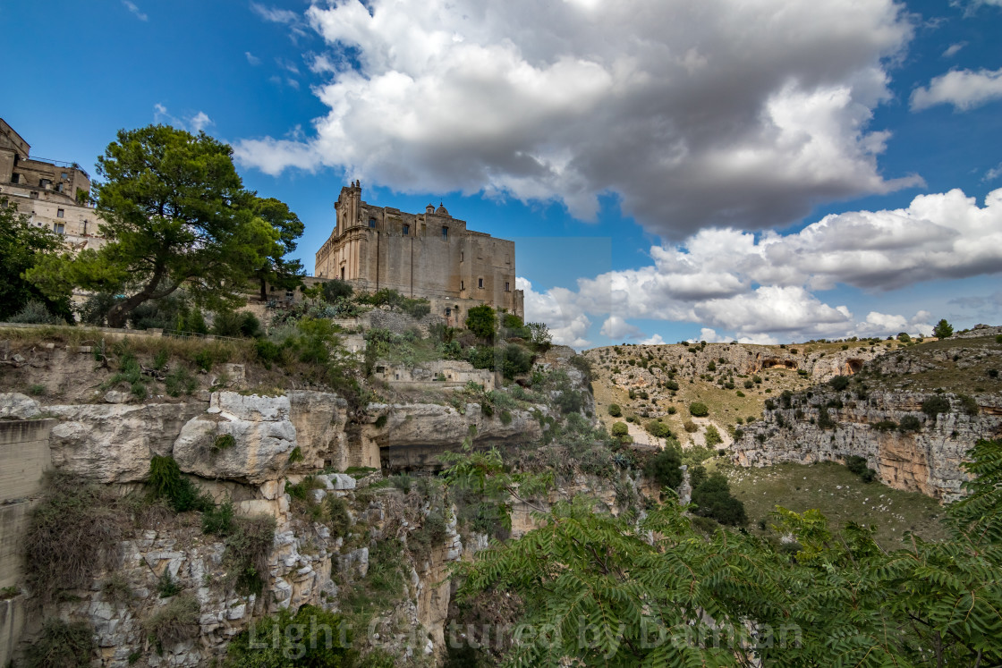 """Church on hill in Matera, Basilicata, Italy"" stock image"