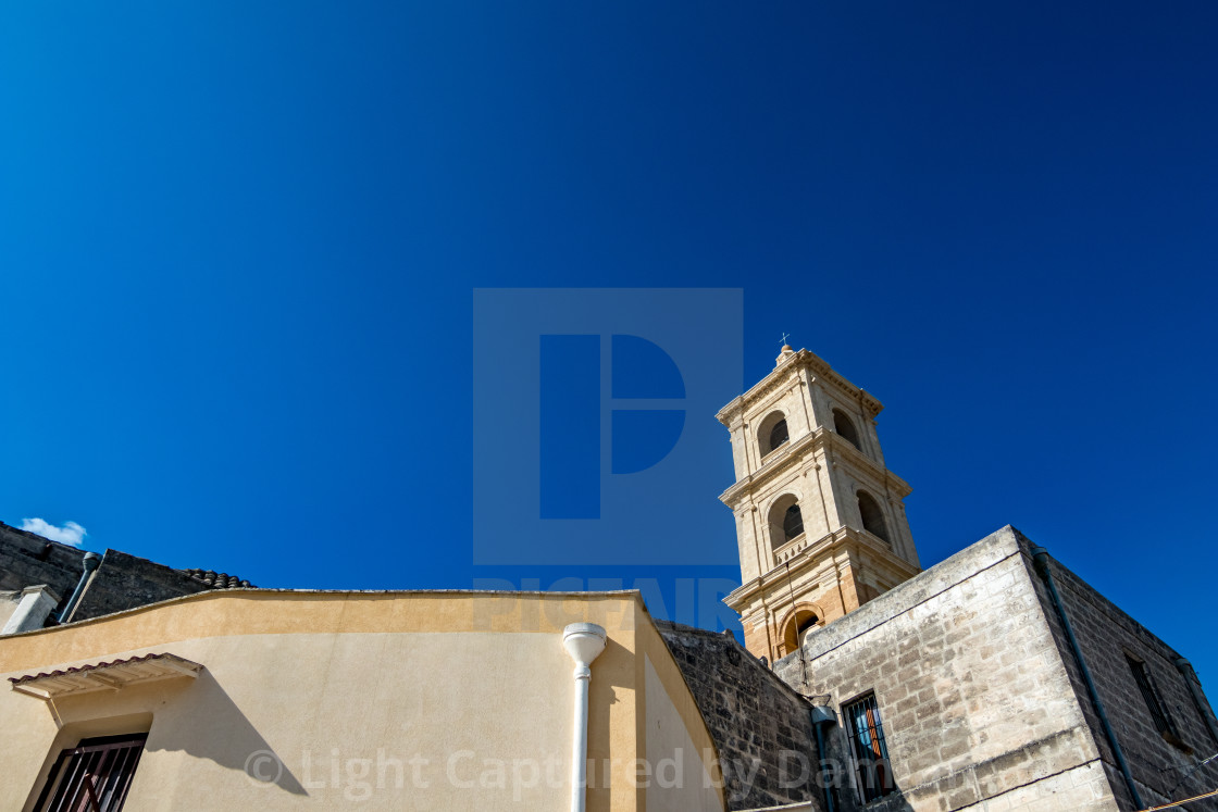 """Church bell tower in Laterza, Italy"" stock image"
