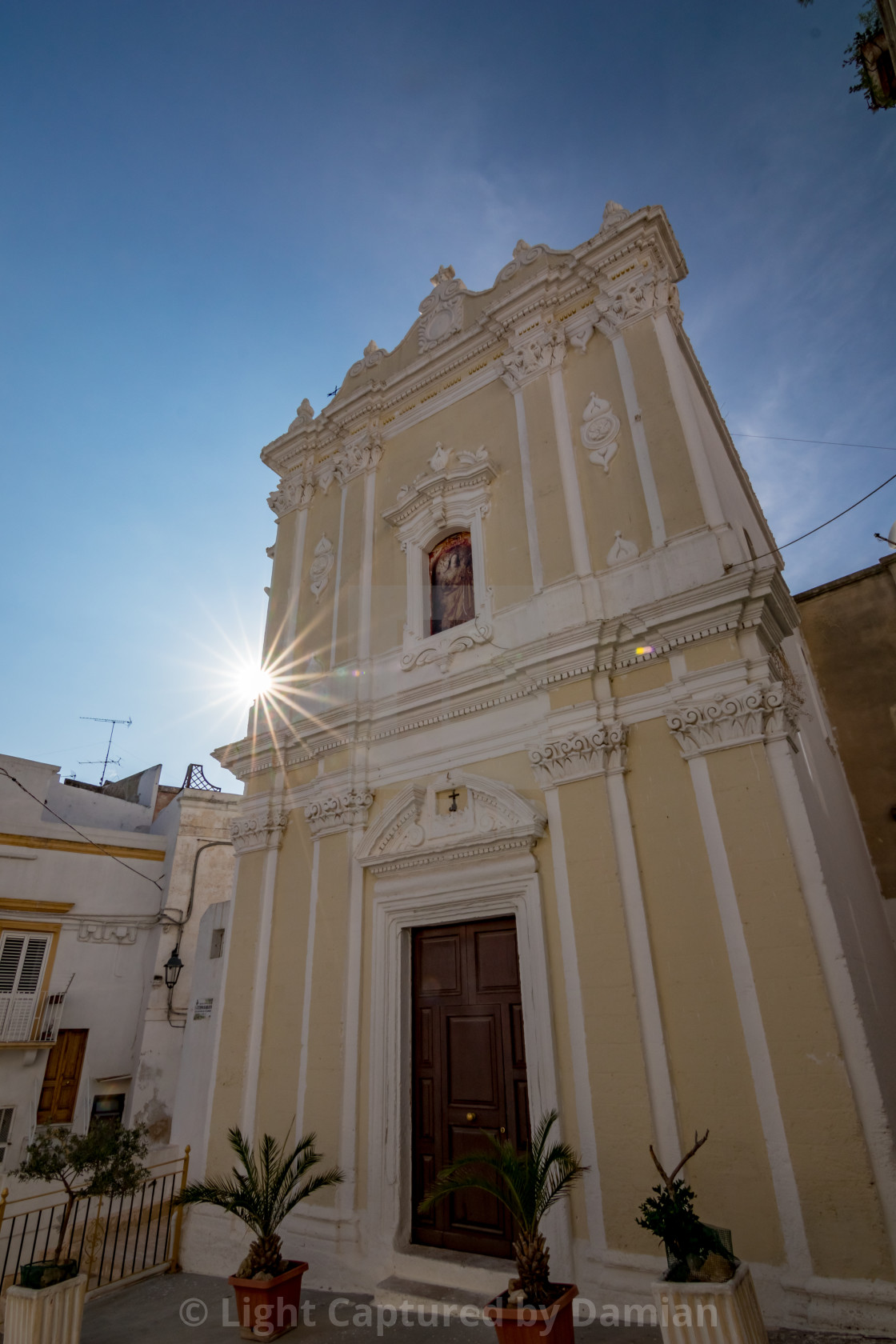 """""""Church with diffraction, Laterza. Puglia. Italy."""" stock image"""