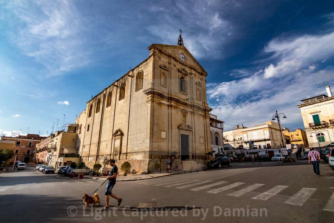"""""""Town life, summer sunny day in Puglia"""" stock image"""