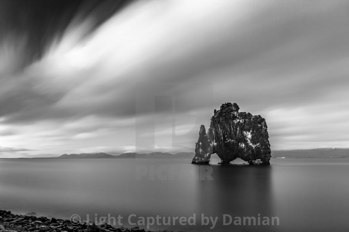 """Black and white of sea rock of Hvitserkur, Iceland"" stock image"