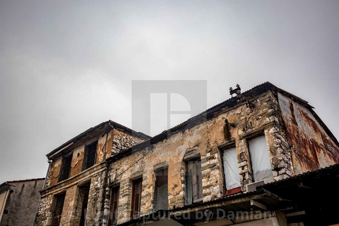 """Old Greek building under construction"" stock image"