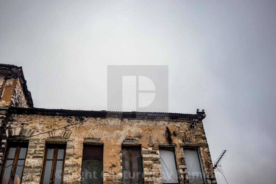 """Old Greek building under construction"" stock image"