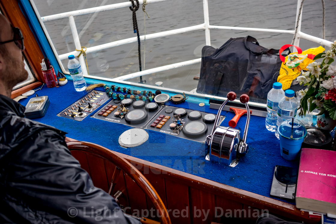 """Inside the ferryboat, lake Ioannina, Greece"" stock image"