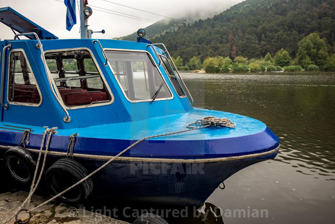 """Lake ferryboat mooring, Ioannina, Greece"" stock image"
