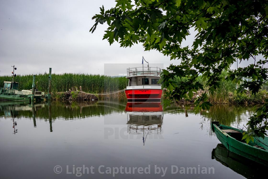 """Lake boats, Ioannina Island, Greece"" stock image"