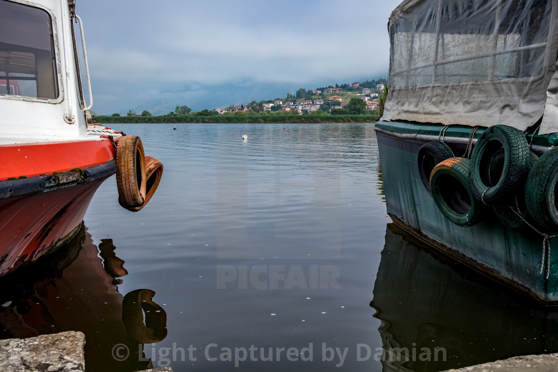 """Lake village view, Ioannina Island, Greece"" stock image"