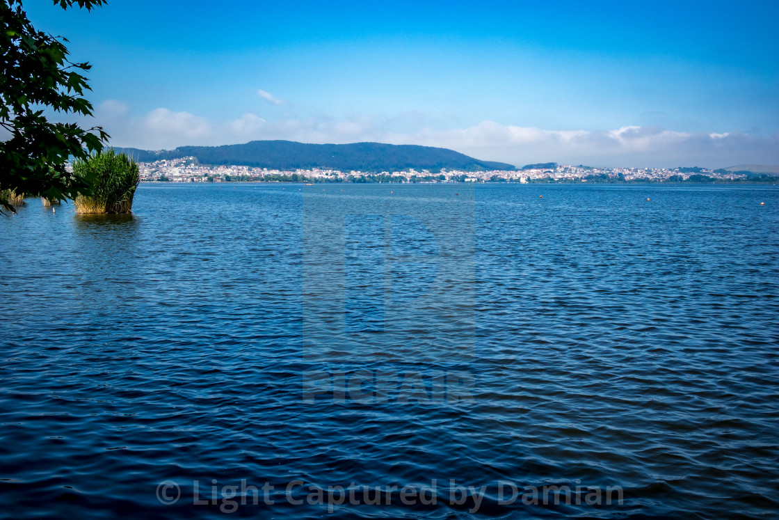 """Tranquility of morning waters of Pamvotida, Greece"" stock image"