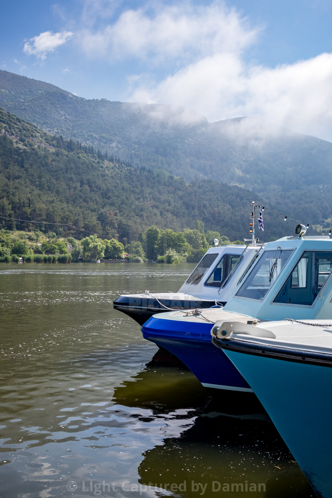 """Lake ferryboats, lake Ioannina, Greece"" stock image"