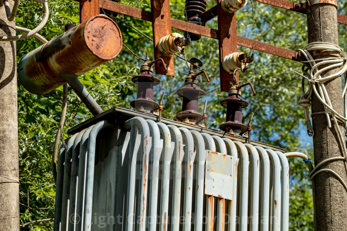 """""""Old rusty electric transformer"""" stock image"""