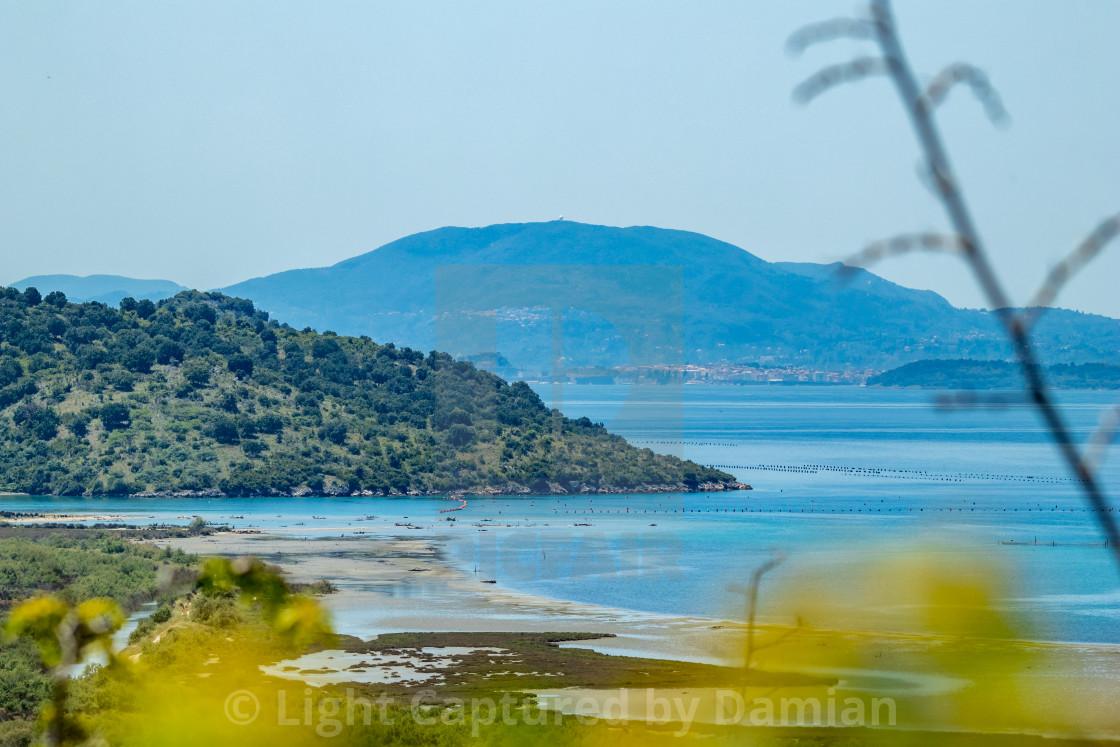 """Butrint, Albania, high angle park spring view"" stock image"
