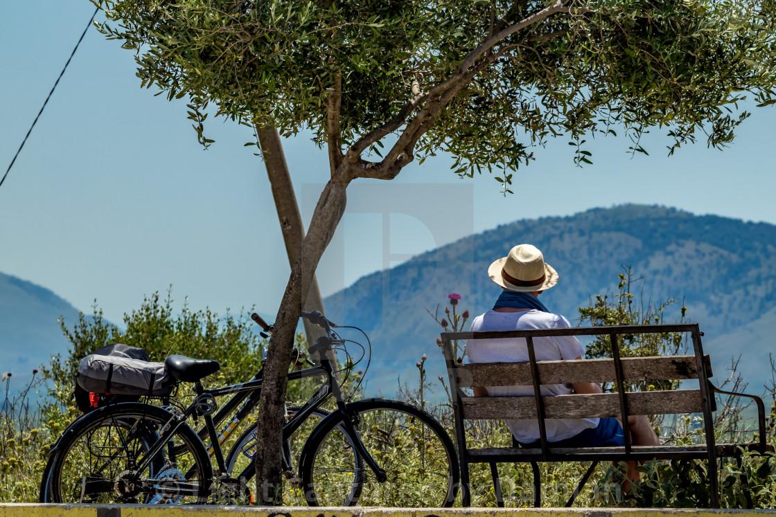"""Male biker enjoys scenery Albanian views"" stock image"