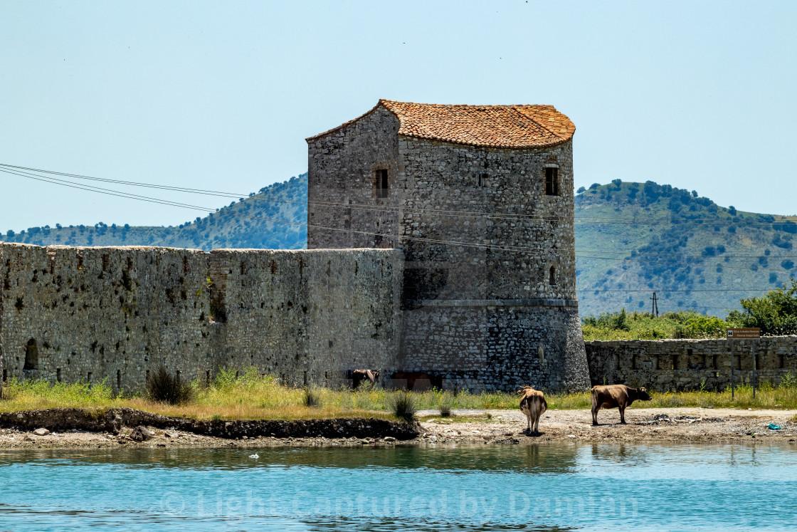 """Venetian Triangle Castle, Albania. Butrint"" stock image"