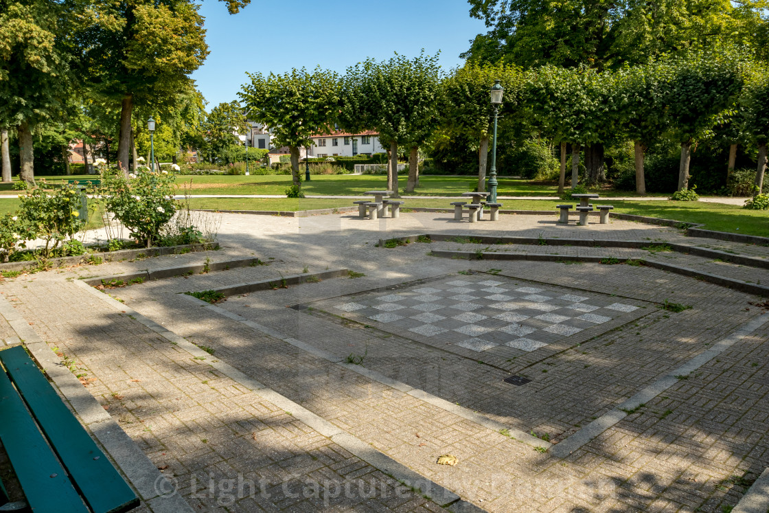 """Giant chess playground in a park"" stock image"
