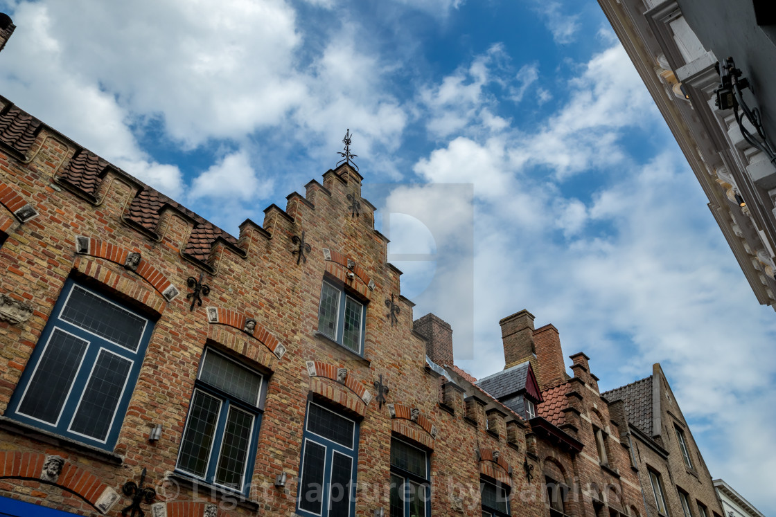 """""""Calm scene with brick facade in warm summer day"""" stock image"""