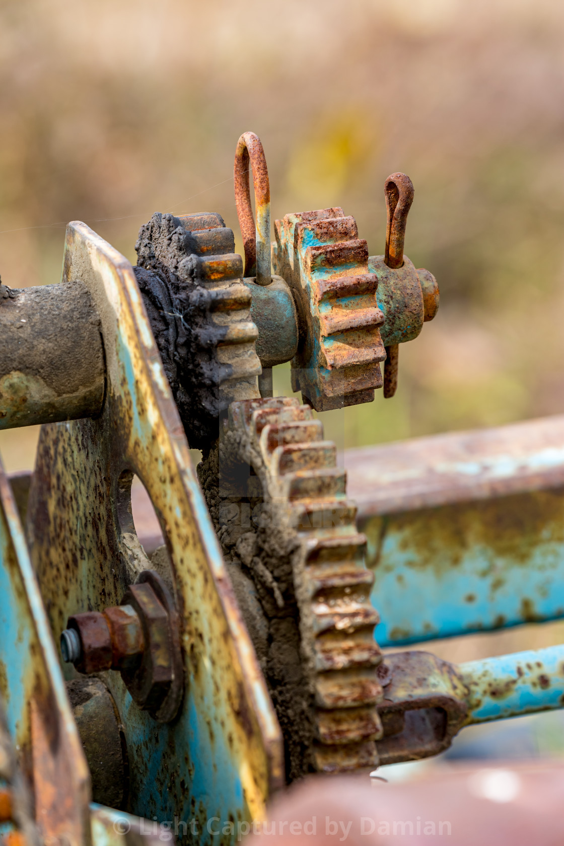 """Gear element rusty details of old farm machine"" stock image"