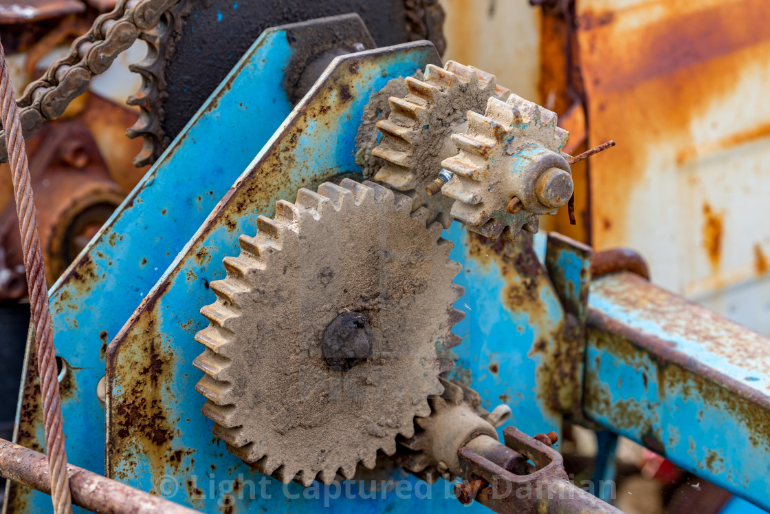 """""""Gear element rusty details of old farm machine"""" stock image"""